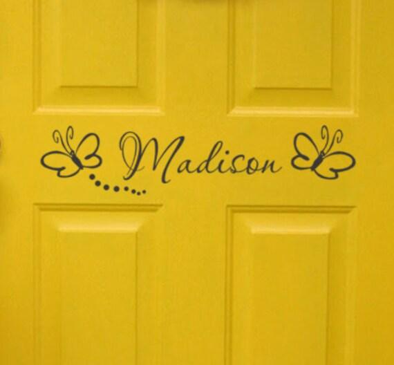 Girls Bedroom Door Monogram With Butterflies Personalized Name