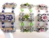 Crystal Flower Bracelets, Purple Peridot  Pink Crystal Beaded Bracelets, Swarovski Crystal Cuff Bracelets, Spring Bracelet