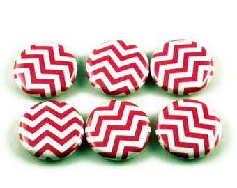 Funky Button Magnets  Refrigerator Magnets in  Pink Chevron (BM90)