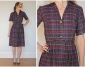 ON HOLD - Vintage 50s Purple Plaid Button-Front Day Dress with Gold Buttons | XS/Small