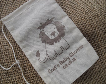 Favor Bags - SET OF 10 3x5 Lion Circus Safari Zoo Jungle Muslin Favor Bags Gift Bags or Candy Bags - Item 3M1062
