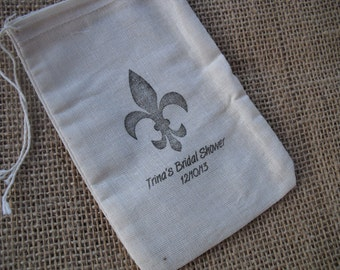Personalized Vintage Style Fleur de lis Wedding Shower Muslin Favor Bags Gift Bags or Candy Bags 4x6 - Item 4M1175