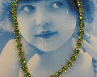 Rhinestone Bracelet Peridot Crystals 2226GRN x1