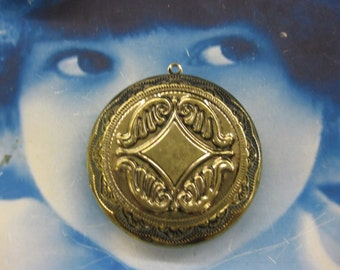 Brass Ox Plated  Floral Embossed  Photo Locket 2230BOX x1