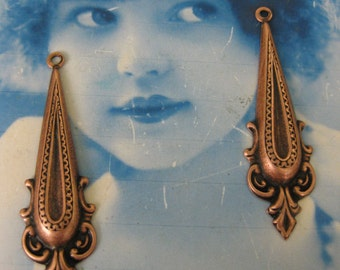 Copper Ox Plated Neo Classical Drop Dangles 2174COP  x2