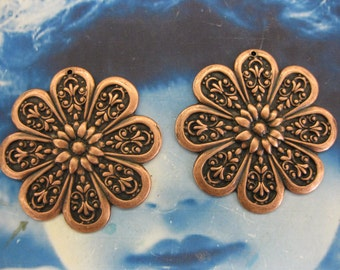 Copper Ox Plated Large Flower Stampings 2239COP  x2