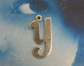 Silver Ox Plated Small  Fancy Script Charms Letter Y 2012SOX x1
