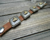 ON SALE- Bronc Rider, Western Cowgirl Rodeo Southwestern Boho Leather Concho Cuff Bracelet