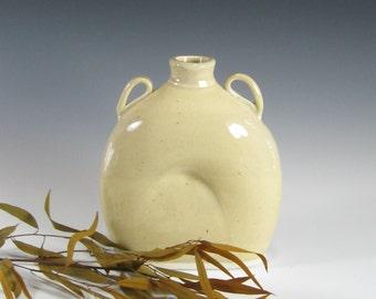 Flower Vase - Flask - Oval Bottle Vase - Housewares - Contemporary - Modern - Handmade Pottery