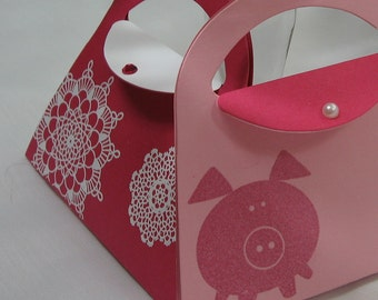 Gift Card Holders, Purses in Pink with Pigs and Doilies