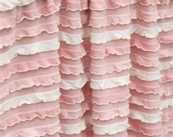 Pink Curtain Panels - 84 inch Curtain - Cream Ruffle Curtain- Light Pink Curtains- Pink Ruffle Curtains Window Treatments - Bedroom Curtains