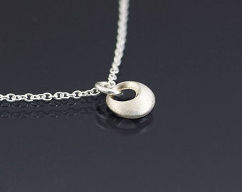 Tiny Convex Loop Necklace - Sterling Silver Circle Pendant