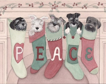 Miniature schnauzers hung by the chimney with care / Lynch signed folk art print