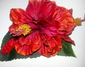 Hibiscus, Red, Red Hibsicus, Flower, Flower clip, Orange Flower, Tiki, pin up, Burlesque, Tropical flower, Wedding, READY TO SHIP