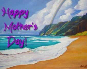 Printable DIY Mothers Day card of Polihale 5x7 pdf from Kauai Hawaii by Marionette