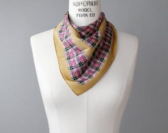 Vintage Silk Scarf | Echo Checked Pattern Silk Scarf | Plaid Scarf