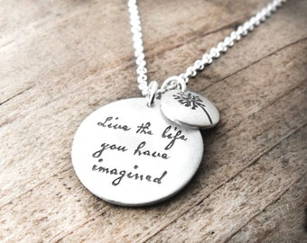 Graduation, Live the life you have imagined, Inspirational quote necklace, Motivational quote