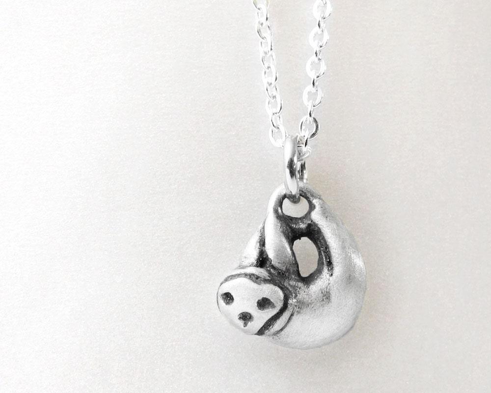 Sloth Necklace Sterling Silver Sloth Jewelry Very Tiny Sloth