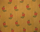 Embroidered Floral Highland Court Diamond Designer Fabric Sample Gold Red Upholstery