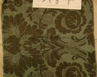 Karyn Hand Printed Silk Floral Damask Designer Fabric Sample Teal