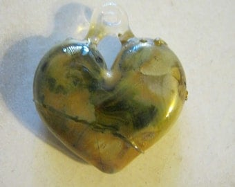 Golden Glass Heart Pendant
