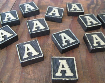 Vintage Wood Anagram Game Pieces, A Initial, Create your own word or saying, Word Art, Home Decor, Custom Order