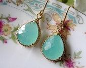 Mint Green Earrings, Gold Earrings, Aqua Dangles, Golf Rope Edge, Gold Bridal Earrings