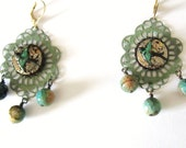 Steampunk Earrings-Patina-Vintage Watch-Beads-Large-OOAK