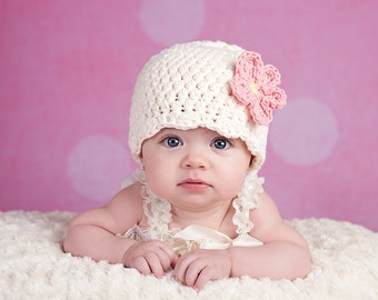 Baby Girl Hat 0 - 3 Month Cream Baby Hat Baby Girl Clothes Crochet Flower Hat Flapper Baby Beanie Spring Photo Prop Photography Prop