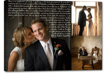 Storyboard Wedding Photo Collage with quotes, words  Personalized Canvas with Text Large Wall Art 24X36