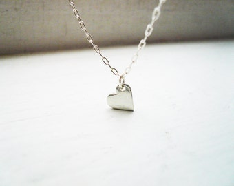 Little Silver Sweet Heart Necklace in Sterling Silver - Great Valentines Day Gift