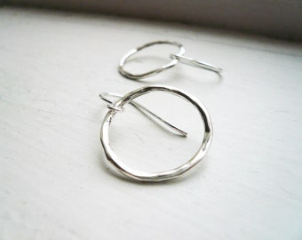 Simple Twiggy Circle Hoop Earrings in Sterling Silver - Silver Hoop Earrings, Twig Jewelry