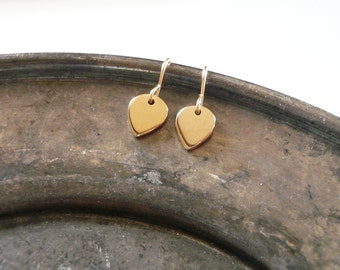 Tiny Gold Lotus Petal Earrings in Gold Filled and Natural Brass, Simple Dainty Everyday Earrings
