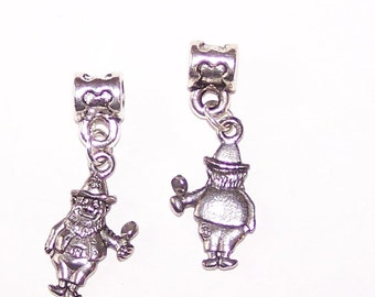 2 Silver LEPRECHAUN Bead Charm for T all Name Brand Add a Bead Bracelets