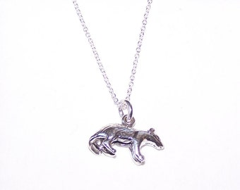 Sterling HONEY BADGER Pendant and 20 Inch Chain - Totem, Wildlife - 3D