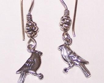 Sterling Silver BIRD Earrings - French Ear Wires