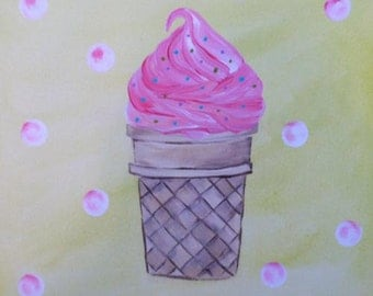 Ice Cream Cone Icecream Girls Art Artwork on Stretched Canvas 10x10 Pink and Green
