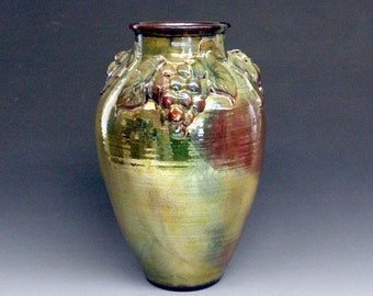 Raku Vase, LARGE with Gold, Copper Metallic and Iridescent Colors, Grapes, Grape Leaves