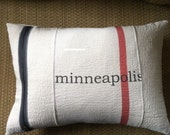 Vintage rustic utility fabric minneapolis pillow