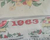 1963 calendar linen Dopp toiletry cosmetic kit