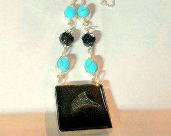 Square Black Onyx Drusy Druzy Pendant, Turquoise gemstones set in 925 Silver Chain Necklace