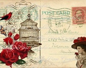 Large digital download 1926 VIntage Postcard collage red roses Bird cage BUY 3 get one FREE single image