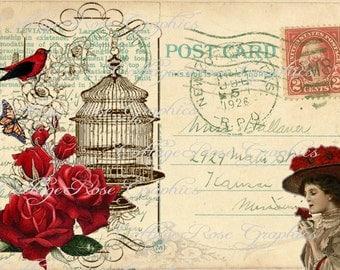 Large digital download 1926 VIntage Postcard collage red roses Bird cage BUY 3 get one FREE single image
