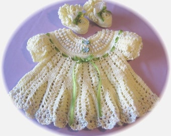 CROCHET PATTERN for Lovely Lemon Drop Baby Dress with Booties