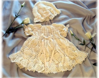 Baby Crochet Pattern Baby Dress........ Molly Dress and Floppy  Hat