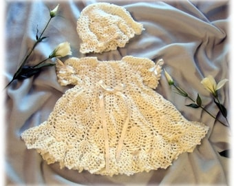 Crochet Pattern for Baby Dress......Molly Baby Dress and Hat
