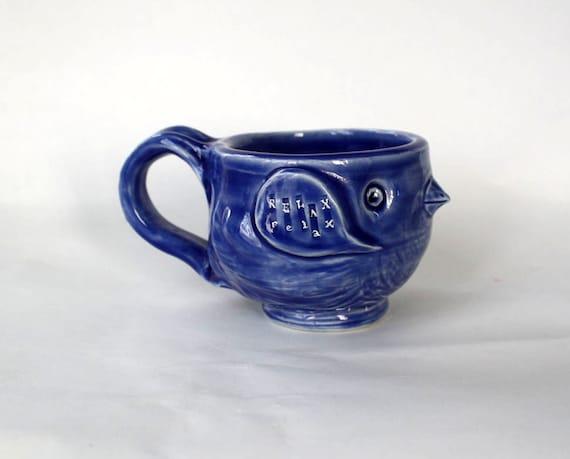 Blue RELAX...Now Back To Work Bird Mug