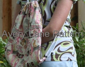 Lined Drawstring Backpack Avery Lane Designs PDF Sewing Pattern Instant Download