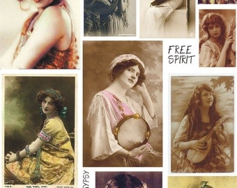 GYPSY soul 1 vintage Collage Sheet