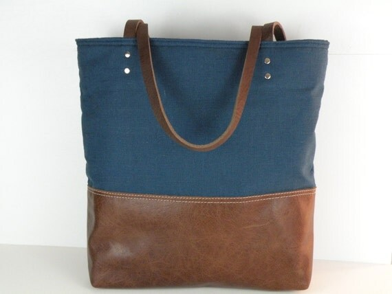 Urban Tote in Cobalt Blue Linen and distressed leather